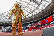 Gold Omega astronaut honouring the 50th anniversary of the Nasa moon landings and the Omega watch on the moon, during the Muller Anniversary Games 2019 at the London Stadium, London, England on 20 July 2019.