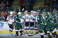 KELOWNA, CANADA - DECEMBER 30: The Kelowna Rockets celebrate a goal against the Everett Silvertips at the Kelowna Rockets on December 30, 2012 at Prospera Place in Kelowna, British Columbia, Canada (Photo by Marissa Baecker/Shoot the Breeze) *** Local Caption ***