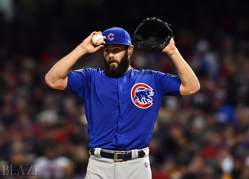 Oct 26, 2016; Cleveland, OH, USA; Chicago Cubs starting pitcher Jake Arrieta reacts against the Cleveland Indians in the first inning in game two of the 2016 World Series at Progressive Field. Mandatory Credit: Ken Blaze-USA TODAY Sports