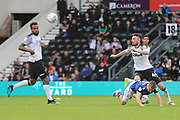 Derby County defender Scott Malone (46) wins the ball during the EFL Sky Bet Championship match between Derby County and Birmingham City at the Pride Park, Derby, England on 28 September 2019.