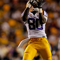 Sep 25, 2010; Baton Rouge, LA, USA; LSU Tigers wide receiver Terrence Toliver (80) during warms ups prior to a game against the West Virginia Mountaineers at Tiger Stadium.  Mandatory Credit: Derick E. Hingle