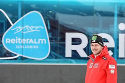 "28.01.2019, Muehlstodl, Reiteralm, AUT, FIS Weltcup Ski Alpin, Slalom, Herren, ÖSV Pressegespräch, im Bild 23.01.2018, Planai, Schladming, AUT, FIS Weltcup Ski Alpin, Schladming, Slalom, Herren, 1. Lauf, im Bild Marco Schwarz (AUT) // Marco Schwarz of Austria in action during his 1st run of men's Slalom of FIS ski alpine world cup at the Planai in Schladming, Austria on 2018/01/23. EXPA Pictures © 2018, PhotoCredit: EXPA/ Johann Groder // Michael Matt of Austria during a press conference of Austrian Skiteam prior to the men's Slalom ""the Nightrace"" of FIS ski alpine world cup at the Muehlstodl in Reiteralm, Austria on 2019/01/28. EXPA Pictures © 2019, PhotoCredit: EXPA/ Martin Huber"