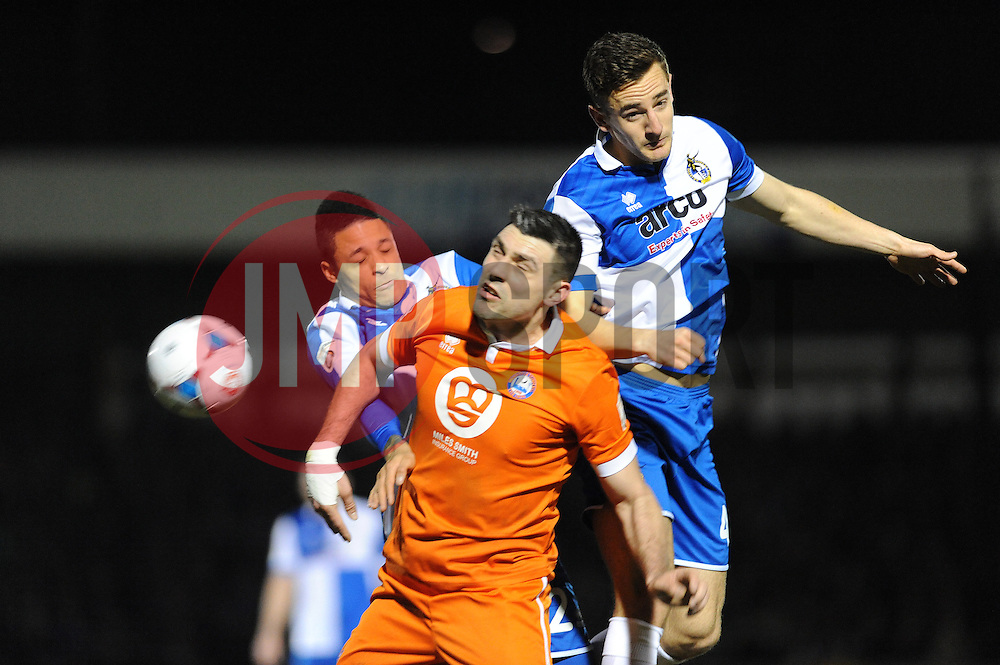 Bristol Rovers' Tom Lockyer heads clear from Braintree Town's Sean Marks - Photo mandatory by-line: Neil Brookman/JMP - Mobile: 07966 386802 - 24/02/2015 - SPORT - Football - Bristol - Memorial Stadium - Bristol Rovers v Braintree - Vanarama Football Conference