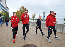 VIENNA, AUSTRIA - Thursday, October 6, 2016: Wales' Gareth Bale and goalkeeper Wayne Hennessey during a pre-match walk at the Hilton Danube Waterfront Hotel ahead of the 2018 FIFA World Cup Qualifying Group D match against Austria. (Pic by David Rawcliffe/Propaganda)