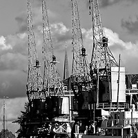 Cranes at Bristol docks.