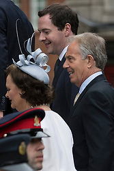 © Licensed to London News Pictures. 10/06/2016. Cherie Blair, George Osborne and Tony Blair attend The National Service of Thanksgiving to mark the 90th Birthday of Queen Elizabeth II at St Paul's Cathedral. London, UK. Photo credit: Ray Tang/LNP