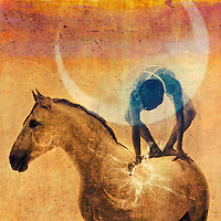 Mystical figure balanced on a white horse with the sun and moon.<br /> <br /> :::::::::::::::::::::::::::::::::::::::::::::::::::::::::::::::::::::::::<br /> <br /> The Universe is worked and guided from within outwards. <br /> -Helena Blavatsky<br /> <br /> ................................................................<br /> <br /> Human beings and all living things are a coalescence of energy in a field of energy connected to every other thing in the world. This pulsating energy field is the central engine of our being and our consciousness, the alpha and the omega of our existence.<br /> Lynne McTaggart<br /> <br /> <br /> &quot;...the boundary between ourselves and other people and between ourselves and Nature, is illusion. Oneness is reality.&quot;<br /> -Charlene Spretnak