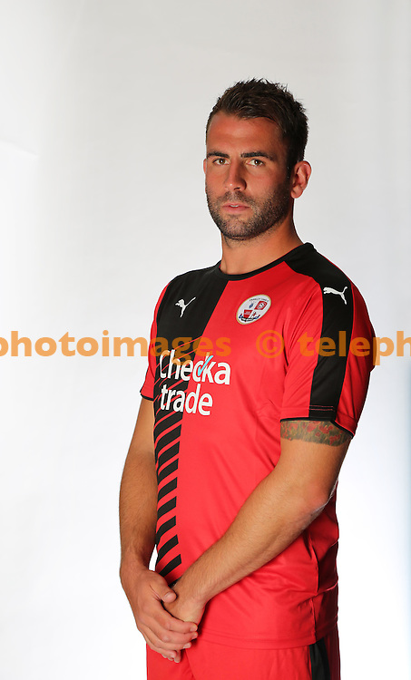 Crawley Town's Simon Walton wearing the new kit for the 2015-16 season at the Checkatrade.com Stadium.<br /> James Boardman / TELEPHOTO IMAGES 07967642437