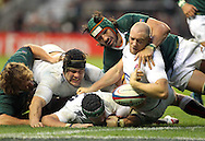 © SPORTZPICS / Seconds Left Images 2010 -  England's Mike Tindall (R)  , England's Hendrie Fourie & England's Tom Palmer (l)  are somehow held up centmetres from the try line by Victor Matfield (capt) England v South Africa  - Investec Challenge Series - 27/11/20110 - Twickenham Stadium  - London - All rights reserved.
