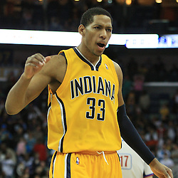 19 January 2009:  Indiana Pacers forward Danny Granger (33) celebrates after hitting a three point basket to tie the game with 2.7 seconds remaining in the game the Hornets went on to a 103-100 win over the Indiana Pacers at the New Orleans Arena in New Orleans, LA. .