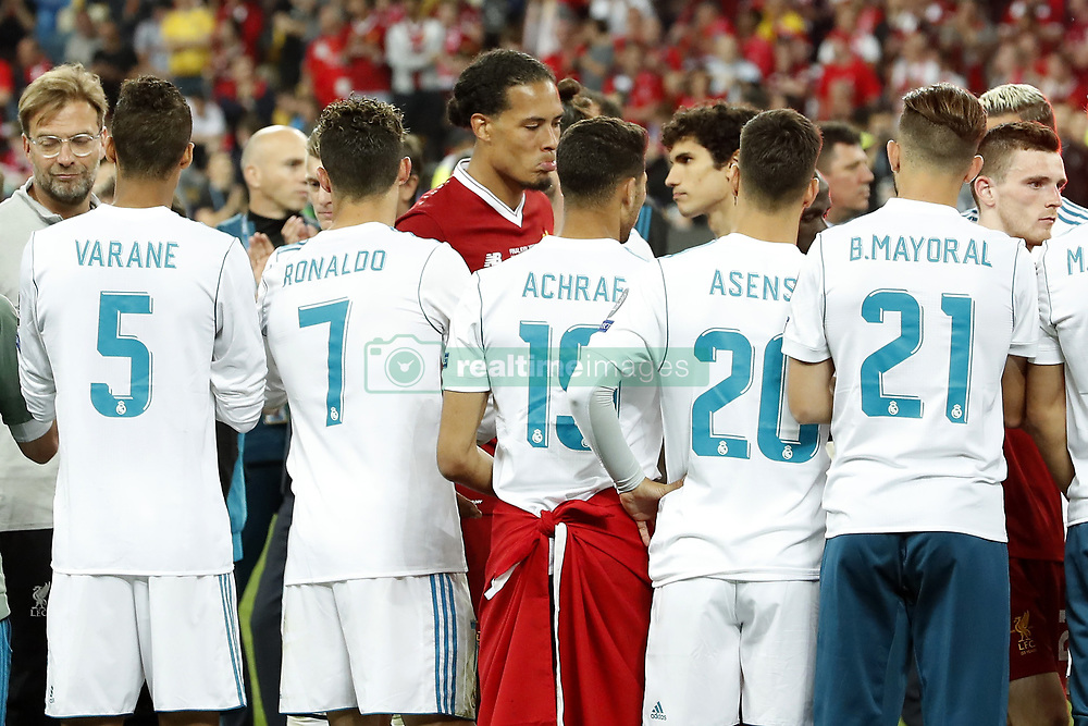 (L-R) coach Jurgen Klopp of Liverpool FC, Raphael Varane of Real Madrid, Cristiano Ronaldo of Real Madrid, Virgil van Dijk of Liverpool FC, Achraf Hakimi of Real Madrid, Marco Asensio of Real Madrid, Borja Mayoral of Real Madrid, Andy Robertson of Liverpool FC during the UEFA Champions League final between Real Madrid and Liverpool on May 26, 2018 at NSC Olimpiyskiy Stadium in Kyiv, Ukraine