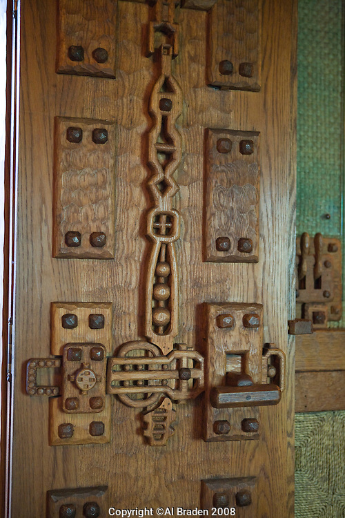 Details of Gillette Castle State Park shows imaginative wood carvings by Williwm Gillette.