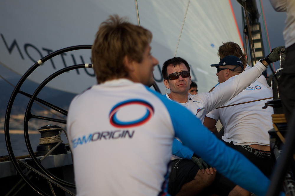 FRANCE, Nice, 28th October 2009, onboard GBR75, TEAMORIGIN, Mike Sanderson, Team Director and Runner.