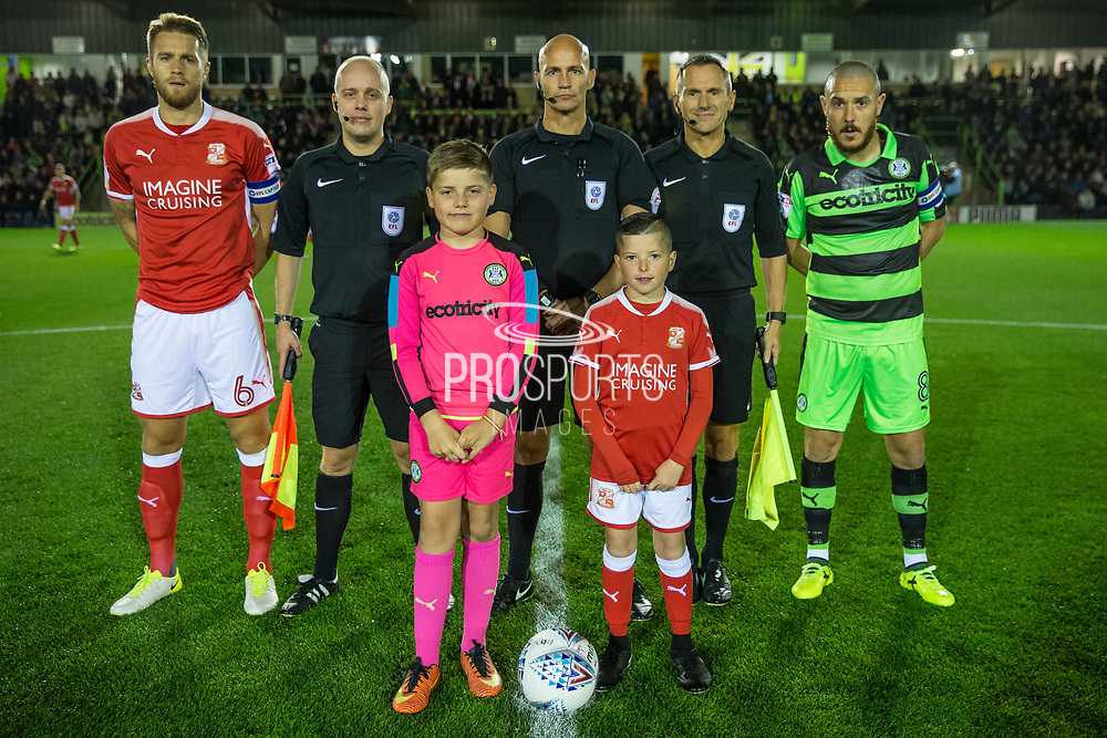 Officials and captains during the EFL Sky Bet League 2 match between Forest Green Rovers and Swindon Town at the New Lawn, Forest Green, United Kingdom on 22 September 2017. Photo by Shane Healey.