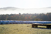 wagon and round hay bales