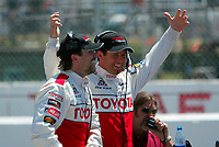 Apr 12, 2003; Long Beach, CA, USA; Pro Category Winner JEREMY McGRATH with overall race winner PETER RECKELL speaking to the fans @ the 27th Annual Pro/Celebrity Race in Long Beach racing Toyota Celica race cars.  Driving 10 laps on a 1.97 mile track along shoreline drive. <br />