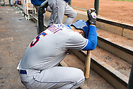 David Wright #5 of the New York Mets waits in the dugout during a game against the Minnesota Twins on April 13, 2013 at Target Field in Minneapolis, Minnesota.  The Mets defeated the Twins 4 to 2.  Photo: Ben Krause