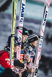 04.01.2019, Bergiselschanze, Innsbruck, AUT, FIS Weltcup Skisprung, Vierschanzentournee, Innsbruck, Siegerehrung, im Bild 2. Platz Stefan Kraft (AUT), Sieger Ryoyu Kobayashi (JPN), 3. Platz Andreas Stjernen (NOR) // 2nd placed Stefan Kraft of Austria Winner Ryoyu Kobayashi of Japan 3rd placed Andreas Stjernen of Norway during the winner Ceremony for the Four Hills Tournament of FIS Ski Jumping World Cup at the Bergiselschanze in Innsbruck, Austria on 2019/01/04. EXPA Pictures © 2019, PhotoCredit: EXPA/ JFK