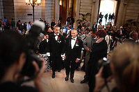 Domestic partners, Joe Alfano, 37, left, and Frank Capley, 33, right, walk up the main staircase of City Hall where they will marry, in San Francisco, CA, on Tuesday, June 17, 2008. The couple have been together for 8 years. They first married in 2004.