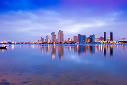 san diego california downtown skyline twilight panorama high dynamic range imaging