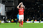 Adam Clayton (8) of Middlesbrough applauds the travelling fans at full time during the EFL Sky Bet Championship match between Fulham and Middlesbrough at Craven Cottage, London, England on 17 January 2020.