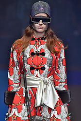 Model Fabienne Dobbe walks on the runway during the Gucci Fashion Show during Milan Fashion Week Spring Summer 2018 held in Milan, Italy on September 20, 2017. (Photo by Jonas Gustavsson/Sipa USA)
