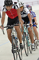 Daniel Jimenez, 17, left, Carlos Rocha, 17, center and Max Thilen, 13, are riding their bicycles at the Bryan Piccolo park's velodrome on Monday June 29, 2009. Staff photo/Cristobal Herrera.