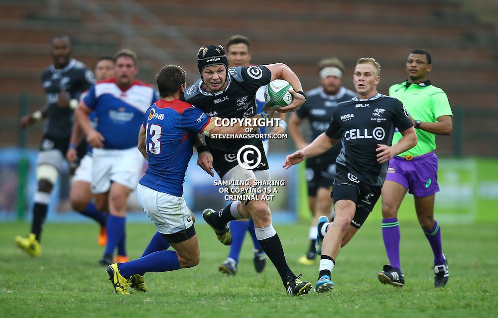 DURBAN, SOUTH AFRICA - APRIL 23:  JC Greyling of the Windhoek Draught Welwitschias looks to tackle Johan du Toit of the Cell C Sharks XVduring the Provincial Cup match between Cell C Sharks XV and Windhoek Draught Welwitschias at King Zwelithini Stadium on April 23, 2016 in Durban, South Africa. (Photo by Steve Haag/Gallo Images)