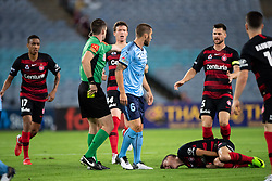 December 15, 2018 - Sydney, NSW, U.S. - SYDNEY, NSW - DECEMBER 15: Western Sydney Wanderers midfielder Jordan O'Doherty (8) goes down after a collision with Sydney FC midfielder Joshua Brillante (6) at the Hyundai A-League Round 8 soccer match between Western Sydney Wanderers FC and Sydney FC at ANZ Stadium in NSW, Australia on December 15, 2018. (Photo by Speed Media/Icon Sportswire) (Credit Image: © Speed Media/Icon SMI via ZUMA Press)