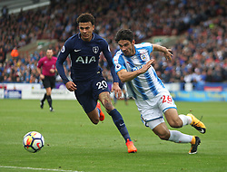 Dele Alli of Tottenham Hotspur (L) and Christopher Schindler of Huddersfield Town in action - Mandatory by-line: Jack Phillips/JMP - 30/09/2017 - FOOTBALL - The John Smith's Stadium - Huddersfield, England - Huddersfield Town v Tottenham Hotspur - English Premier League