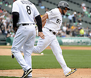 CHICAGO - APRIL 21:  Melky Cabrera #53 of the Chicago White Sox rounds the bases after hitting a solo home run in the seventh inning against the Los Angeles Angels of Anaheim on April 21, 2016 at U.S. Cellular Field in Chicago, Illinois.  The Angels defeated the White Sox 3-2.  (Photo by Ron Vesely)   Subject: Melky Cabrera