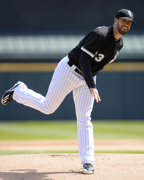 CHICAGO - APRIL 06:  James Shields #33 of the Chicago White Sox pitches against the Detroit Tigers on April 6, 2017 at Guaranteed Rate Field in Chicago, Illinois.  The White Sox defeated the Tigers 11-2.  (Photo by Ron Vesely)   Subject:  James Shields