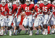 COLLEGE FOOTBALL: Stanford 1989, Scott Eschelman #34, Alan Grant #2, Cory Booker #81, Kevin T. Scott #3, Gary Taylor #15  at Stanford Stadium in Palo Alto, California.