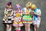 UNITED KINGDOM, London: 26 May 2019 <br /> Cosplayers (left to right) Michaela Brister 23, Shannon Murdoch 23, Bexi Williams 25 and Lara Hughes 17 outside London ExCeL during the final day of the MCM London Comic Con. The three day comic convention is being held at London ExCeL from Fri 24th - Sun 26th of May.