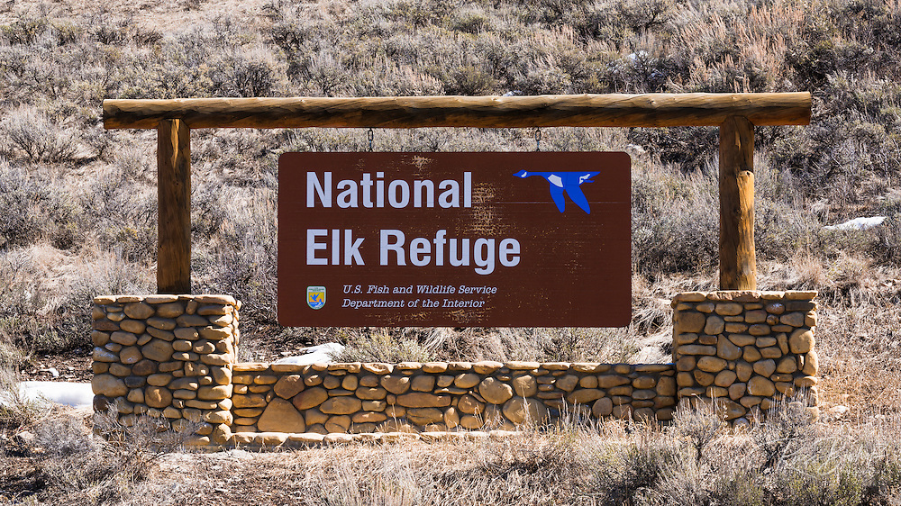 Entrance sign at the National Elk Refuge, Jackson Hole, Wyoming USA