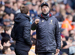 LONDON, ENGLAND - Sunday, March 17, 2019: Liverpool's manager Jürgen Klopp reacts during the FA Premier League match between Fulham FC and Liverpool FC at Craven Cottage. (Pic by David Rawcliffe/Propaganda)