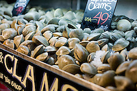 9 July, 2008. New York, NY. Clams are on display for customers at the shucking station at the seafood section of the new Whole Foods that opened in Tribeca today, on July 9th 2008. The shucking station for oysters and clams is a new feature of the Whole Foods Market.<br /> <br /> ©2008 Gianni Cipriano for The New York Times<br /> cell. +1 646 465 2168 (USA)<br /> cell. +1 328 567 7923 (Italy)<br /> gianni@giannicipriano.com<br /> www.giannicipriano.com
