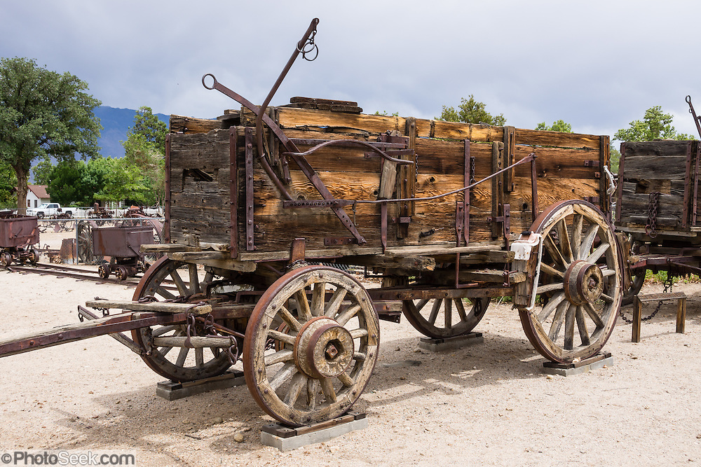 Antique wooden freight wagon at the Eastern California Museum, 155 N. Grant Street, Independence, California, 93526, USA. The Museum was founded in 1928 and has been operated by the County of Inyo since 1968. The mission of the Museum is to collect, preserve, and interpret objects, photos and information related to the cultural and natural history of Inyo County and the Eastern Sierra, from Death Valley to Mono Lake.