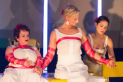 "© Licensed to London News Pictures. 05/10/2015. London, UK. L-R: Caroline Bowditch, Welly O'Brien and Nicole Guarino. Caroline Bowditch's ""Falling in Love with Frida"" explores the life, loves and legacy of disabled artist Frida Kahlo at the Lilian Baylis Studio/Sadler's Wells on 5-6 October 2015. Performed by Caroline Bowditch, Welly O'Brien, Nicole Guarino and Yvonne Strain (sign language interpreter). Photo credit: Bettina Strenske/LNP"