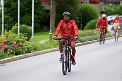 ROTTACH-EGERN, GERMANY - Thursday, July 27, 2017: Liverpool's Oviemuno Ovie Ejaria cycles back from training from the Seehotel Uberfahrt on the banks of Lake Tegernsee on day two of their preseason training camp in Germany. (Pic by David Rawcliffe/Propaganda)