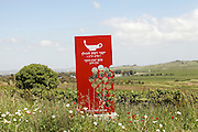 Red sign of the Golan Heights winery the Ein Zivan vineyard