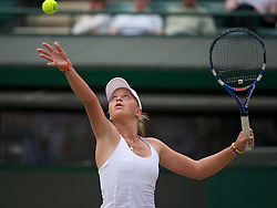 LONDON, ENGLAND - Sunday, July 3, 2011: Irina Khromacheva (RUS) in action during the Girls' Singles Final match on day thirteen of the Wimbledon Lawn Tennis Championships at the All England Lawn Tennis and Croquet Club. (Pic by David Rawcliffe/Propaganda)