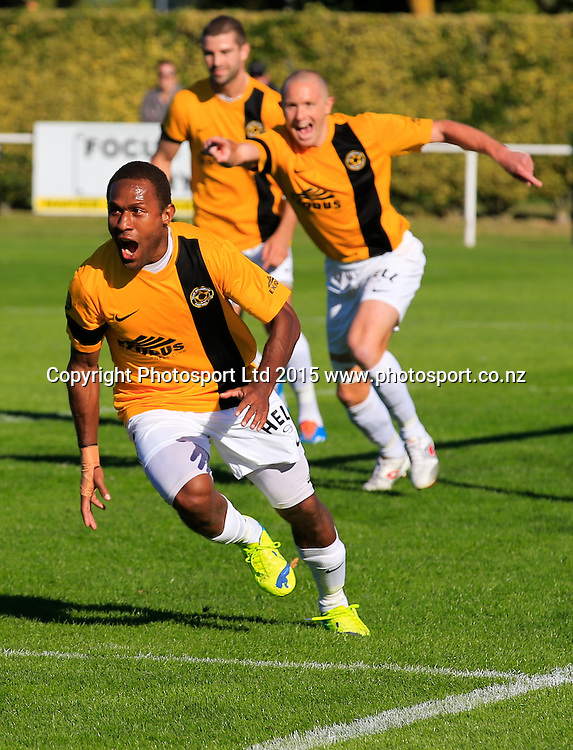 Wellington's Henry Fa'Arodo celebrates his goal. Hawkes Bay United v Wellinton, Semi final leg 1, ASB Premiership football, Park Island, Napier, New Zealand. Saturday, 21 March, 2015. Copyright photo: John Cowpland / www.photosport.co.nz