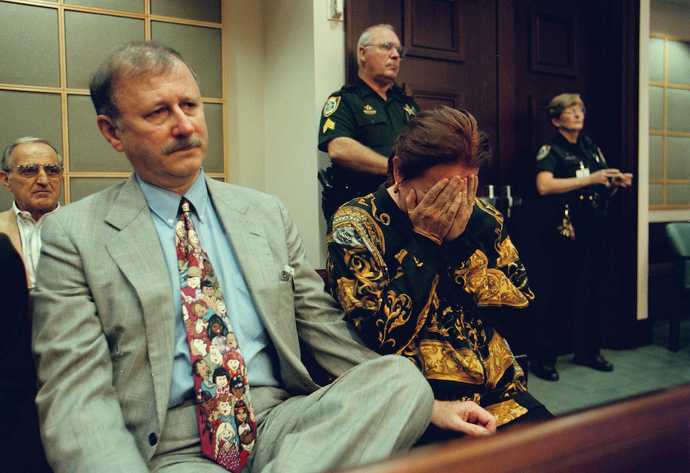 Claudine Ryce with husband Don next to her breaks down as the juries recomendation of the death penalty is handed down to the murderer of her son Juan Carlos Chavez during the penalty phase of his trial on Tuesday, Oct. 27, 1998 at the Orange County Courthouse in Orlando, Fla.  Jimmy Ryce was raped, murdered and dismembered nearly three years ago close to Homestead, Fla. (AP Photo/Scott Audette)