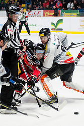 06.03.2016, Ice Rink, Znojmo, CZE, EBEL, HC Orli Znojmo vs Dornbirner Eishockey Club, Viertelfinale, 5. Spiel, im Bild v.l. Martin Podesva (HC Orli Znojmo) Marek Zagrapan (Dornbirner) // during the Erste Bank Icehockey League 5th quarterfinal match between HC Orli Znojmo and Dornbirner Eishockey Club at the Ice Rink in Znojmo, Czech Republic on 2016/03/06. EXPA Pictures © 2016, PhotoCredit: EXPA/ Rostislav Pfeffer