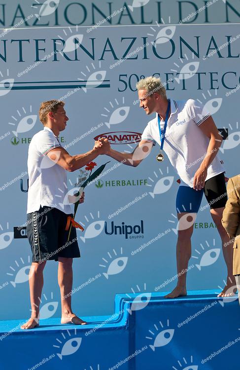 TONIATO Andrea, Italy - Fiamme Gialle - Team Veneto and SCOZZOLI Fabio, Italy - Esercito - Imolanuoto<br /> 100 breaststroke men<br /> 50 Settecolli Trofeo Internazionale di nuoto 2013<br /> swimming<br /> Roma, Foro Italico  12 - 15/06/2013<br /> Day01 finali finals<br /> Photo Elisa Di Biasi/Deepbluemedia/Insidefoto