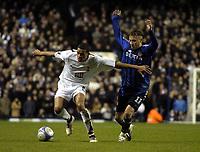 Photo: Olly Greenwood.<br />Tottenham Hotspur v Club Brugge. UEFA Cup. 02/11/2006. Spurs Jermaine Jenas and Club Brugge's Jonathan Blondel