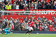 Wayne Rooney Forward of Manchester United scores from the penalty spot and celebrates his goal 1-0 during the Premier League match between Manchester United and Swansea City at Old Trafford, Manchester, England on 30 April 2017. Photo by Phil Duncan.