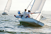 Between a heat wave and week of rain, week 5 of the summer racing series held by Wickford Yacht Club on Narragansett Bay proved to be fair sailing weather for the Wednesday Night Races.  The strong breeze and white caps helped to cool everyone off from the extreme summer heat.