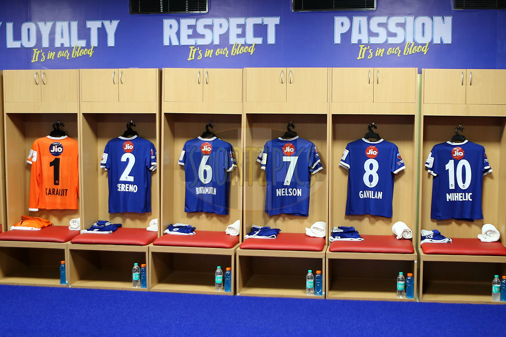 GV of the Chennai Dressing Room during match 6 of the Hero Indian Super League between Chennaiyin FC and NorthEast United FC held at the Jawaharlal Nehru Stadium, Chennai, India on the 23rd November 2017<br /> <br /> Photo by: Ron Gaunt / ISL / SPORTZPICS